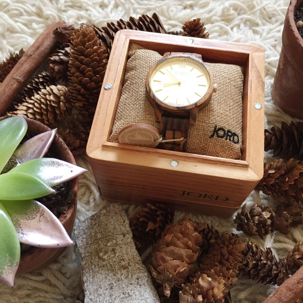 JORD Wood Watch Zebrawood and Champagne