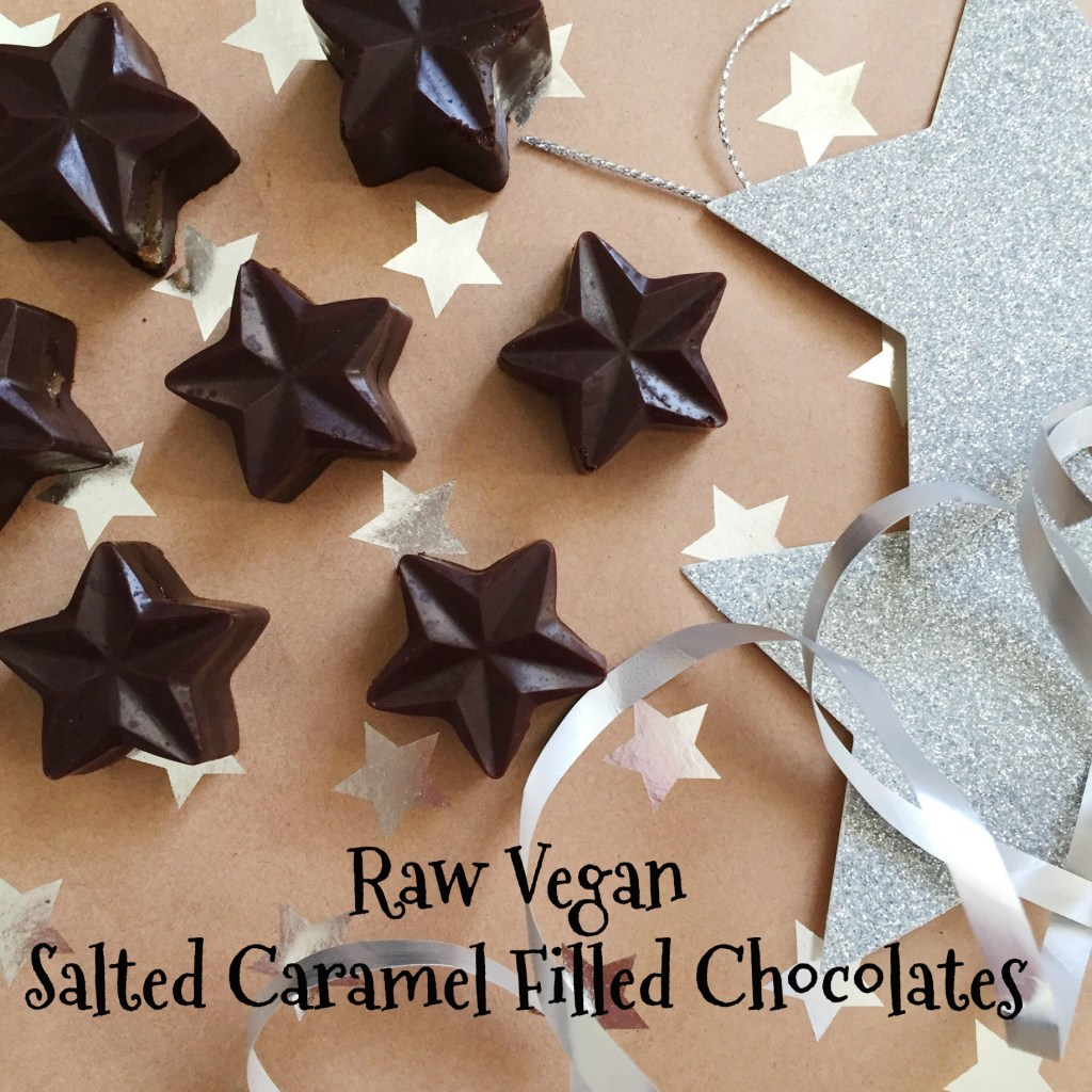 Raw Vegan Salted Caramel Filled Chocolates
