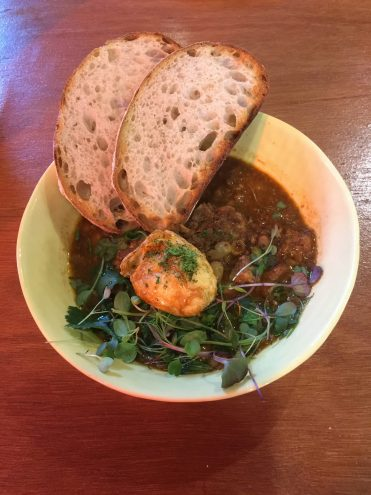 'Burmese Style Pork Belly Curried Baked Beans, served with a Son in Law Egg and Toasted Sourdough' ($19.90)