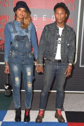 2015: Pharrell Williams and his wife, Helen Lasichanh bringing denim back.