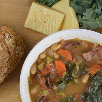 Roasted Garlic, Kale, & Bacon Soup