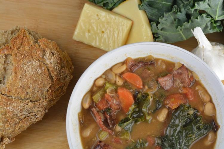 Roasted Garlic, Kale, & Bacon Soup