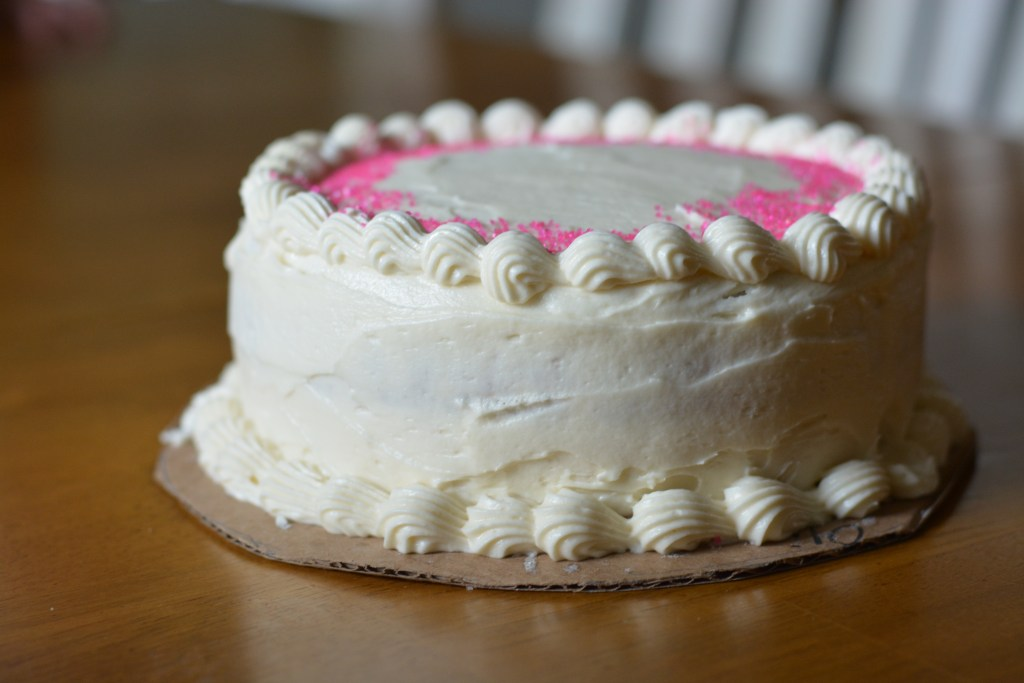 Strawberry cake cream cheese frosting side