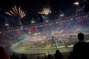 The Opening Ceremony of the 2012 London Olympics.  By Nick J Webb - This Flickr file, CC BY 2.0, https://commons.wikimedia.org/w/index.php?curid=28198691