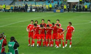 Chinese National Football Team pose for group photo just prior to the commencement of the Asian Zone World Cup Qualifying Match at ANZ Stadium Sydney. China won 1-0.