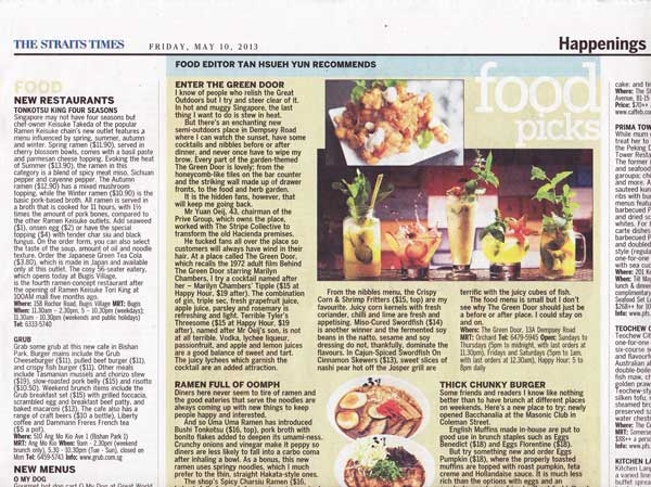 The Green Door – The Straits Times