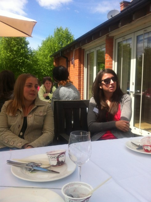 Beki @MissWheezy and Laura of life.laura.london enjoy lunch including Chobani yoghurts - protein-packed snacks, yum!