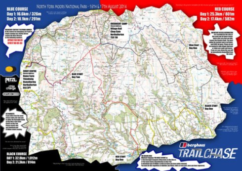 """Berghaus Trail Chase map with """"motivating phrases"""""""