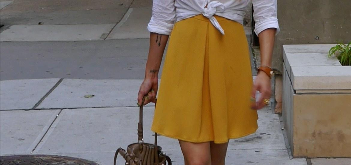 Dress: Free People (Lord & Taylor) | White Oxford: Gap (Outlets) | Bucket Bag: Alexander Wang (Nordstrom) | Ballerina Flats: Chanel (Consignment) | Faux Pearl Earrings: Eleven Consignment Boutique