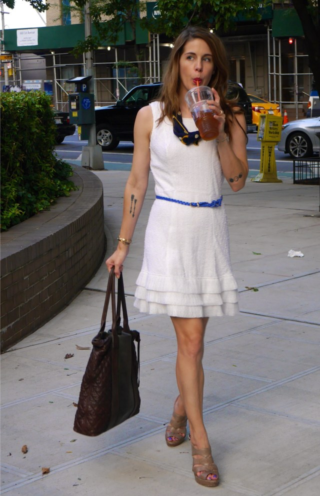 Dress: Theyskens' Theory (Consignment)   Belt: Artist & Fleas, Williamsburg   Neck scarf: Christian Dior (Vintage)   Shoes: Alexandre Birman (Consignment)   Leather Tote: AllSaints