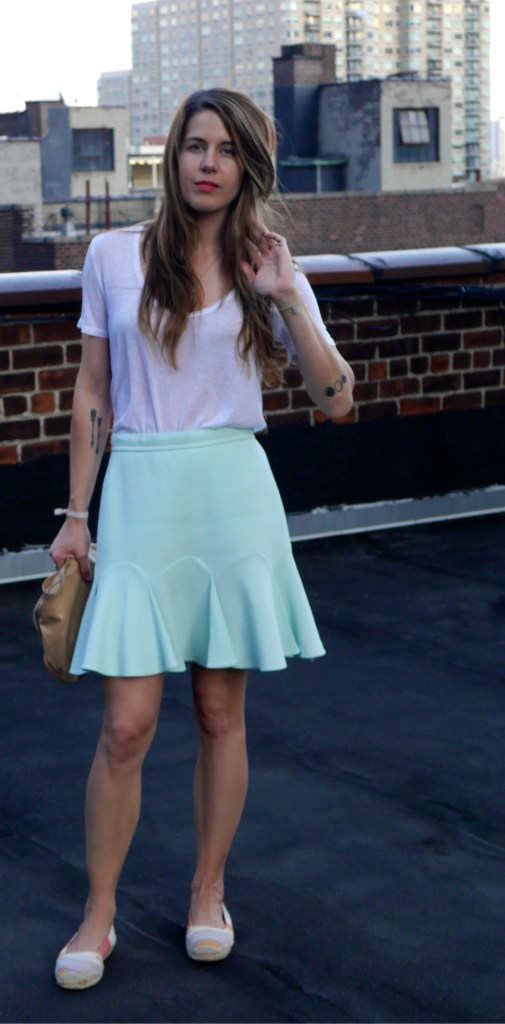 T-Shirt: The Row (Consignment)   Skirt: Craven (Consignment)   Slip-Ons: Missoni (Consignment)