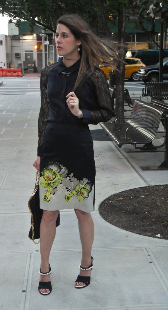 Blouse: Equipment (Nordstrom) | Skirt: Topshop | Necklace: Dannijo | Shoes: Chanel (Barneys) | Handbag: Stella McCartney (Saks)