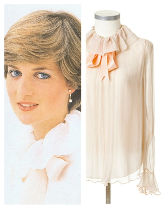 Left: Princess Diana, back when she was still Lady Diana Spencer.  Right: Princess Diana's blush-colored blouse, designed by David & Elizabeth Emanuel.