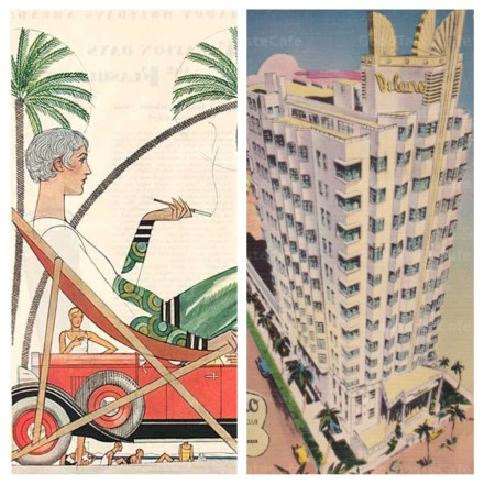 My inspiration included a 1920s advertisement and the Delano Hotel in Miami Beach.