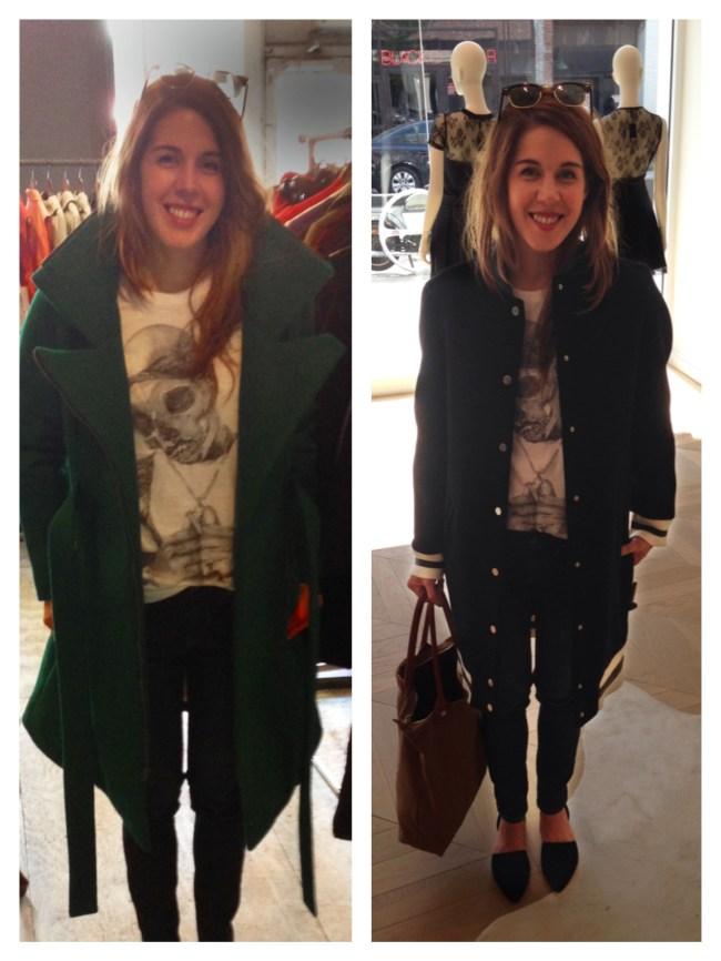 Left: Emerald Emily Coat (Vegan) at VauteCouture   Varsity Jacket Coat at Maje