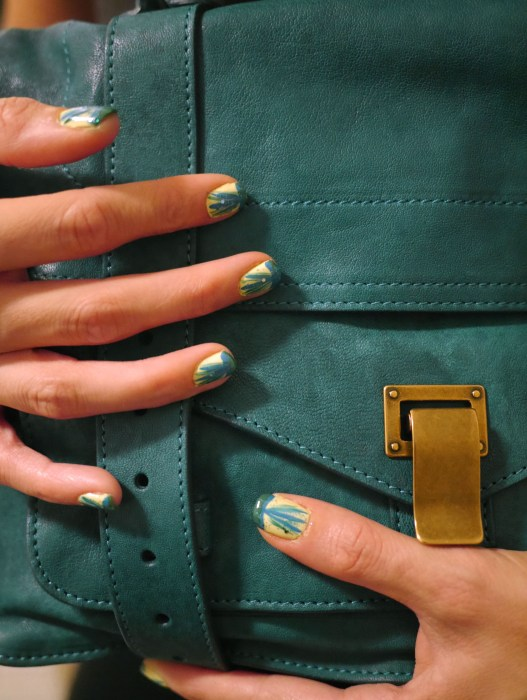 Base color: Orly (Glowstick) | Accent Colors: Revlon (Posh #571 and Radiant #441) and Color Club (Blue Print #707)