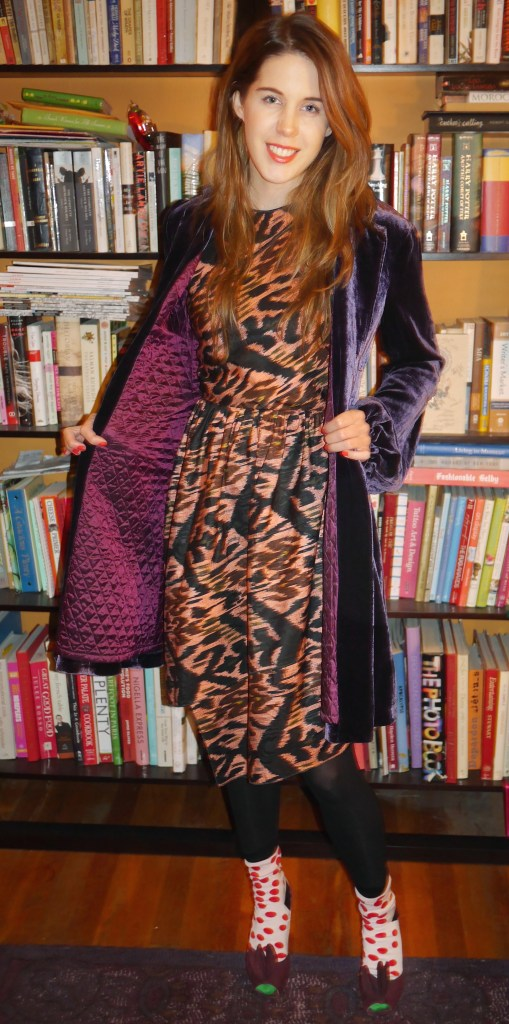 Purple Velvet Coat: Nanette Lepore (Consignment) | Dress: Proenza Schouler (Consignment) | Tights: Target | Polka-Dotted Socks: Paul Smith | Purple Suede Heels: Prada (Consignment)