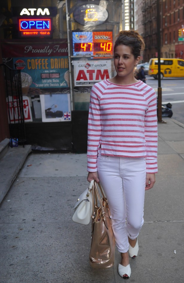 Rose Gold Tote: c/o Be Brilliant | Striped Top: Target | White Jeans: AG | White Sandals: Trademark | White Purse: Dolce & Gabbana