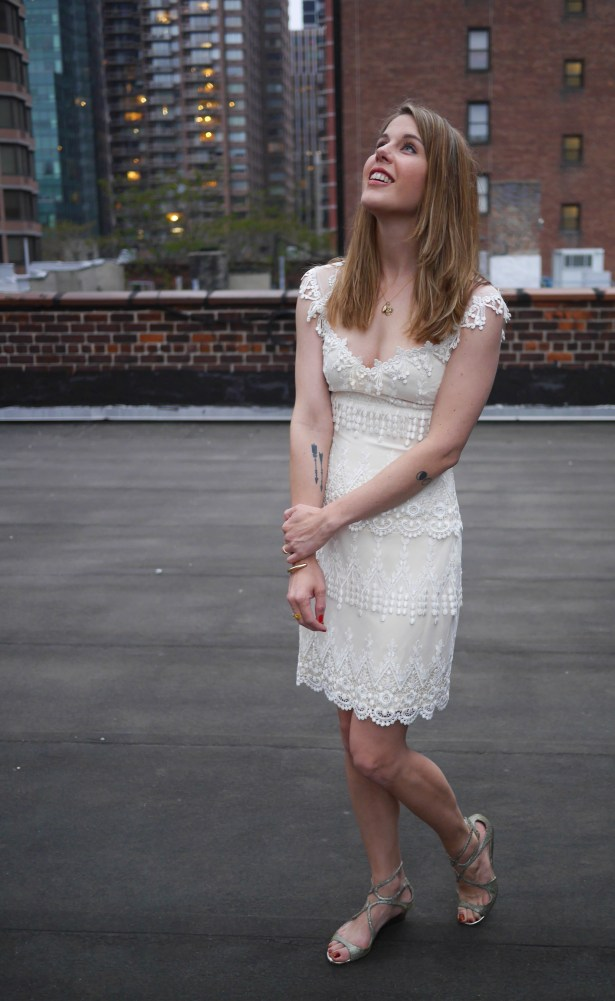 Dress: Claire Pettibone | Necklace: Baby Locket & Vintage Charm (Old) | Shoes: Jimmy Choo