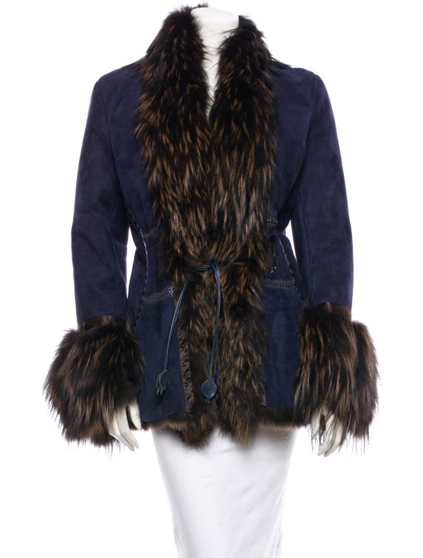 Roberto Cavalli Suede and Fox Fur Jacket: Consignment