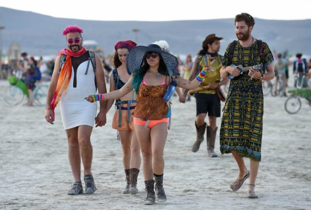 Some of the fashions at Burning Man. That ukulele is RIDICULOUS.