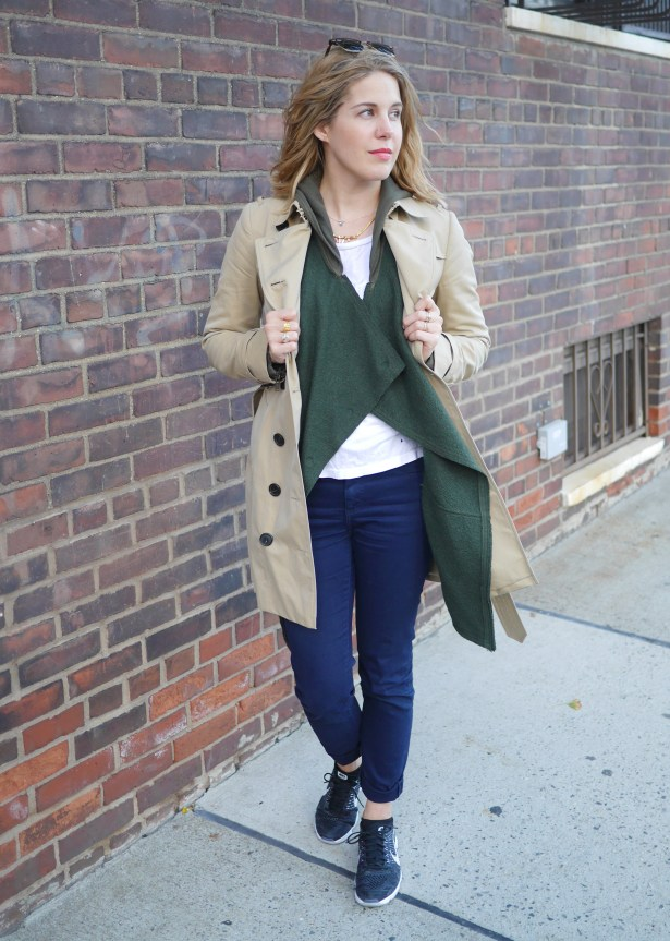 Trench: Burberry | Olive Sweater: Free People | White Tee: Sundry | Jeans: Trademark | Shoes: Nike