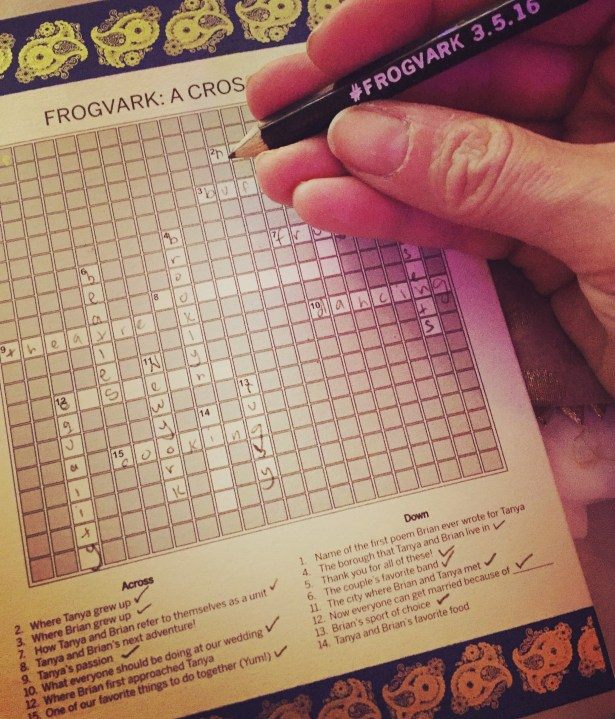 The crossword puzzle that Tanya created for guests to complete before dinner.