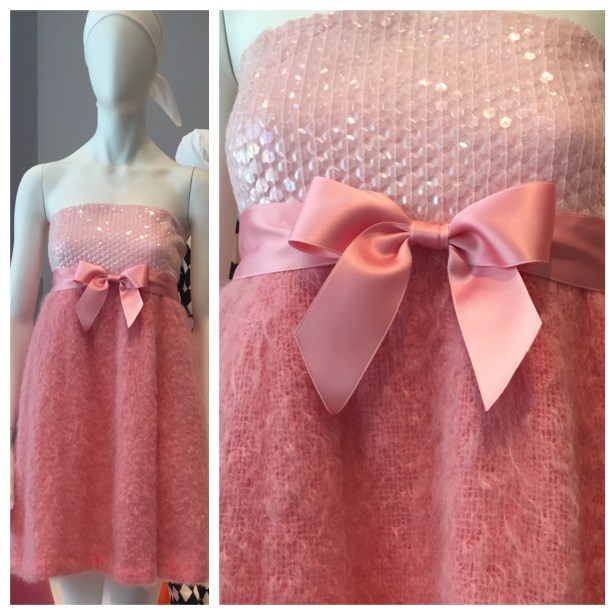 "A beautiful pink Isaac Mizrahi confection, nicknamed the ""Cotton Candy Cocktail."" Made from mohair, with sequins and double-face satin ribbon."