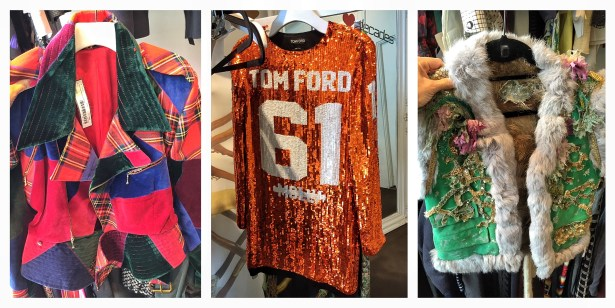 Vivienne Westwood Jacket | Tom Ford sequined dress } Fur-trimmed vest