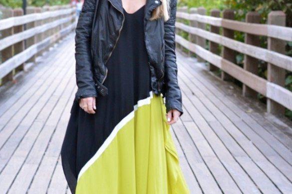 Colorblock Maxi Dress, Leather Jacket // theStyleSafari