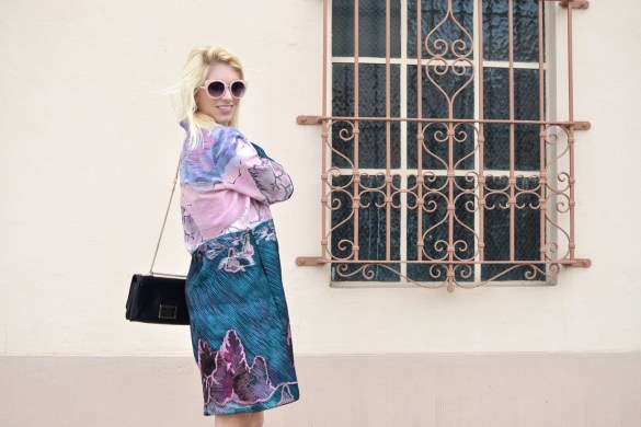 Stefanie from TheStyleSafari wears Dezzal Embroidered Long Sleeve Coat