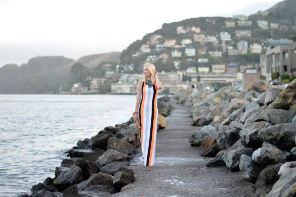High neck vertical black white orange stripe dress made by Stefanie Schoen of The Style Safari