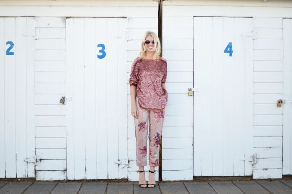 Stefanie from The Style Safari pink sequin sweater, pink floral silk pants, pink sunglasses, head to toe pink outfit // thestylesafari.com
