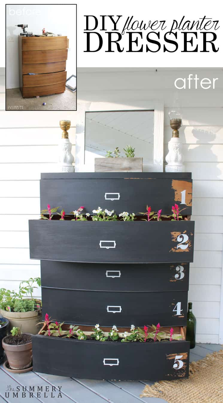 Do you need an interesting piece for your front porch? This DIY flower planter dresser will NOT disappoint. Very easy, and most definitely eye catching!