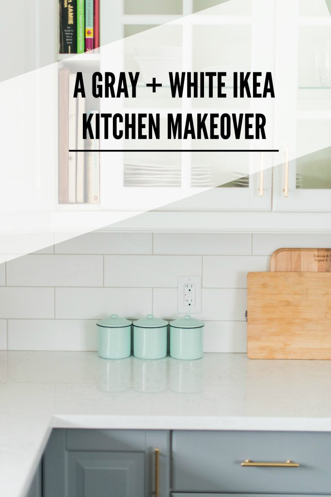A gray and white kitchen makeover using IKEA cabinetry quartz countertops subway tile and gold hardware. Click through for the full source list how tos