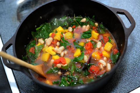 An early autumn soup with the last of the garden tomatoes, the first of the winter squash, and lots of pretty chard.  Even Claire will eat chard if I serve it with biscuits.