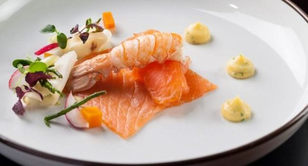 Irish Smoked Salmon and Poached Dublin Bay Prawns with Pickled Veg