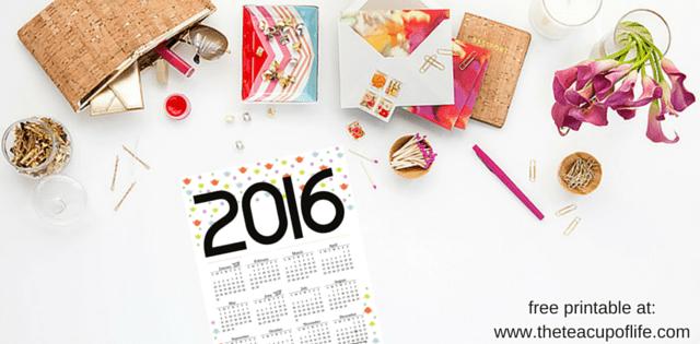 2016 Year Calendar Free Printable