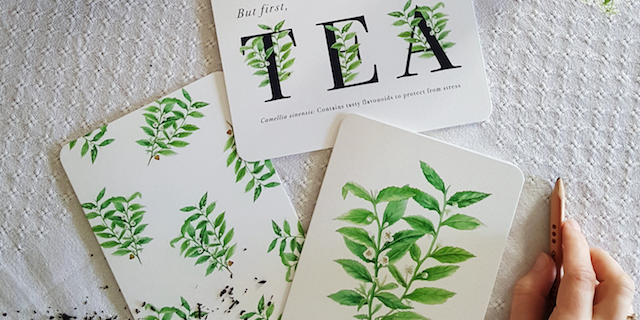 Tea Greeting Cards Celebrating the Camellia Sinensis Plant