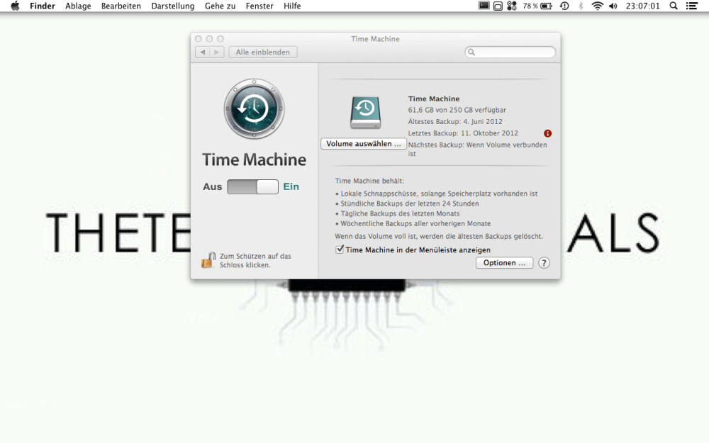 Time Machine unter OS 10.8 Mountain Lion einrichten (4/4)
