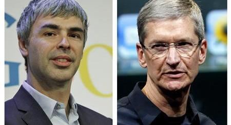 A combination photo showing Google CEO Page in New York and Apple CEO Cook in Cupertino