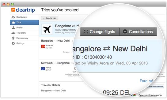 cleartrip change flights