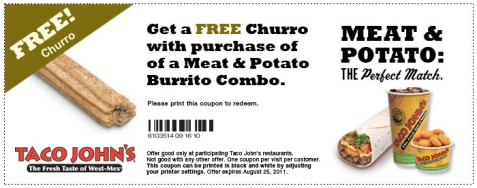 taco johns free churro coupon
