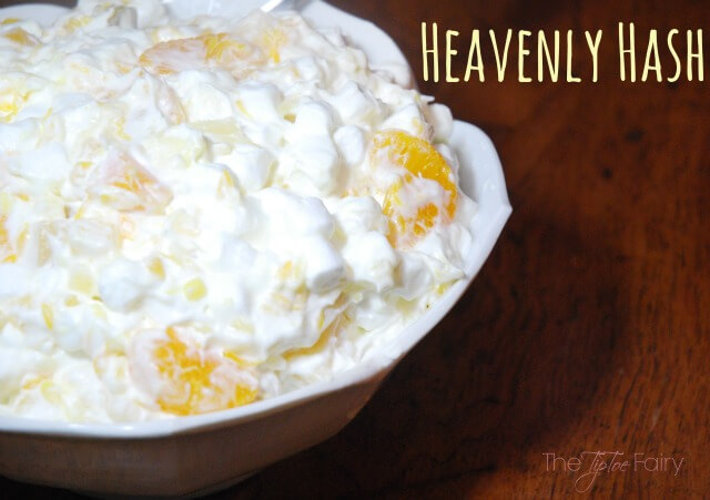 Heavenly Hash - a holiday fruit salad perfect for Thanksgiving or Christmas. This is an old family recipe.   The TipToe Fairy