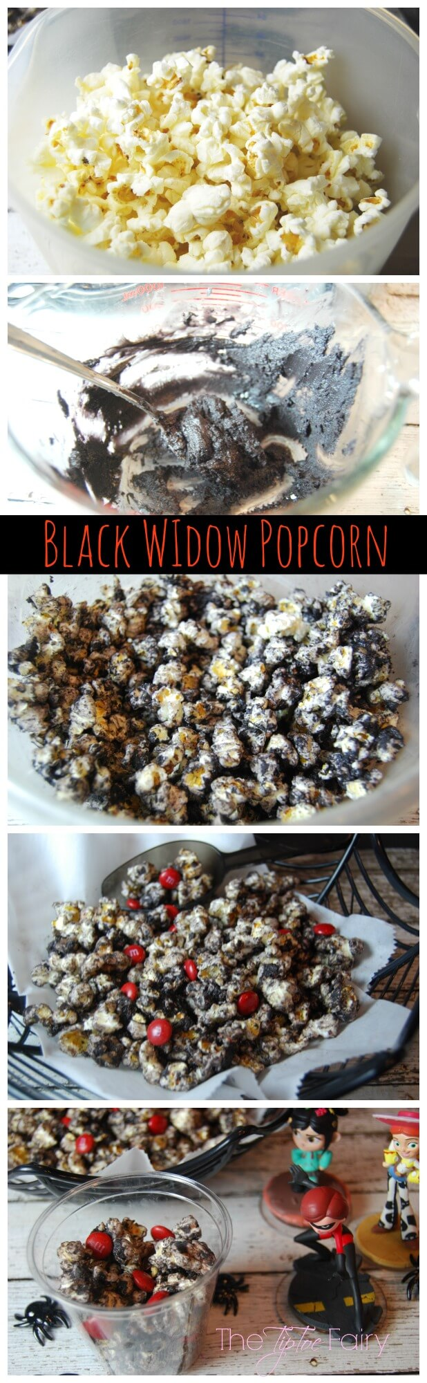 Black Widow Popcorn | The TipToe Fairy #InfinityHeroes #CollectiveBias #shop #popcornrecipes #cakebatterpopcorn #popcorntreat #blackwidow #marvel