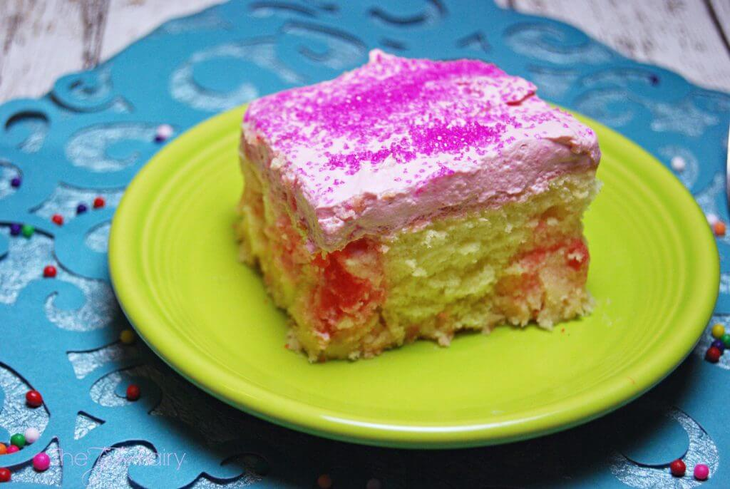 Bubblegum Poke Cake - perfect for kid birthday parties | The TipToe Fairy