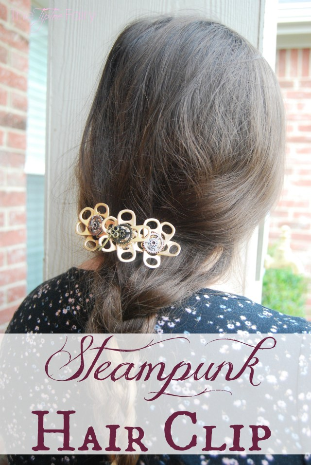 Make a Steampunk Hair Clip out of upcycled Coke tabs - this barrette is super easy and fun! | The TipToe Fairy #FinalFourPack #Ad