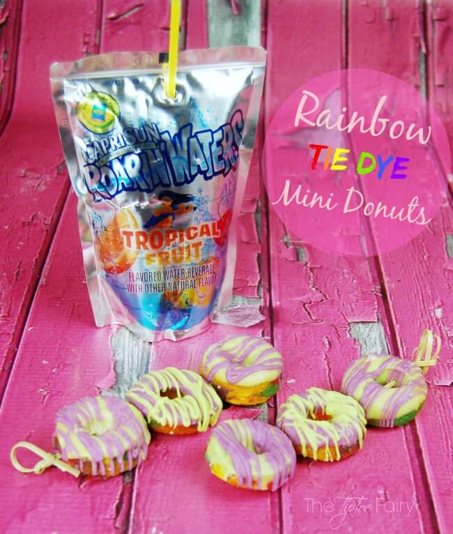 Make some Rainbow Tie Dye Mini Donuts with cake mix! Super easy and fun! #KidsChoiceDrink #Ad