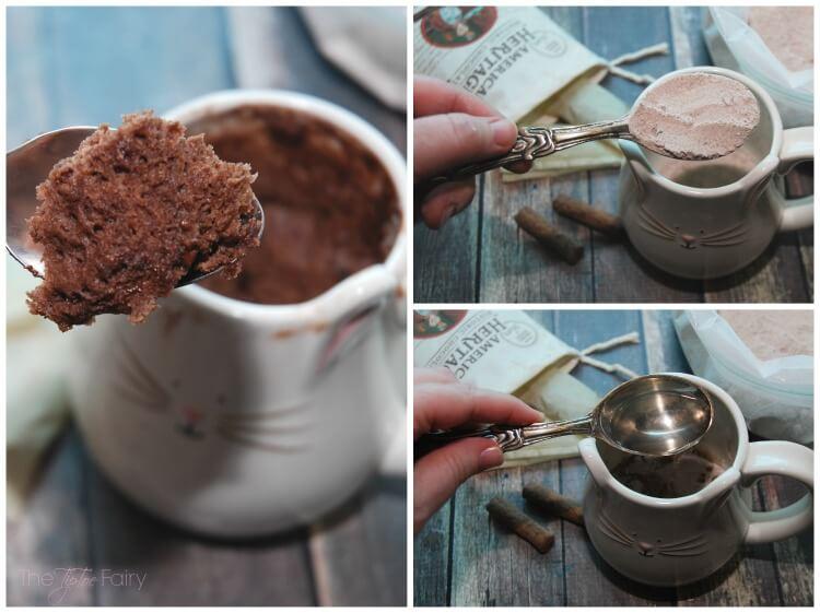 Chocolate Mug Cake topped w spicy decadent @choc_history #ChocolateHistory #IC #ad