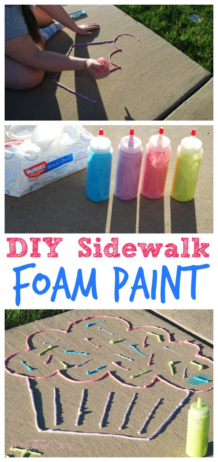 Diy sidewalk foam paint the tiptoe fairy for Doing crafts at home for money
